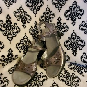 Alegria pewter, silver, and black sandals.